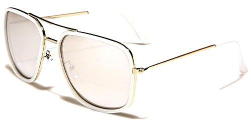 Ladies Roadster (White Mirror European Roadster Flash Mirrored Lens Aviator Men Women Sunglasses)