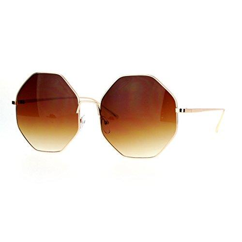 Octagon Shape Metal Frame Sunglasses Womens Fashion Eyewear UV400 Gold, - Sunglasses Octagon