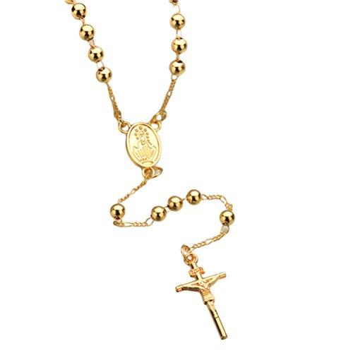 FRECI Cross Necklace Metal Beaded Necklace Crucifix Keepsake Prayer Beads Necklace Men Women (Golden)
