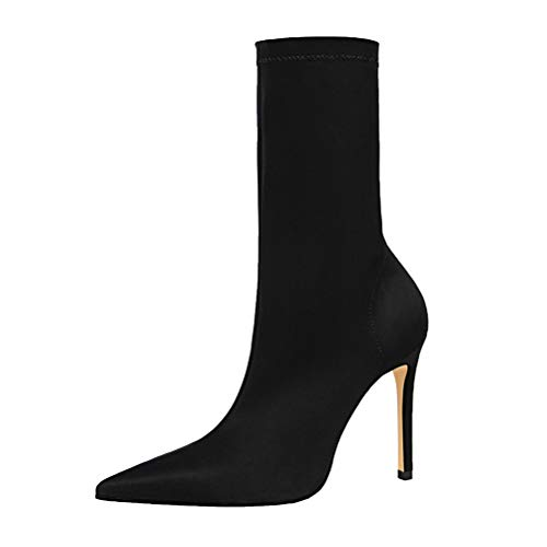 MMJULY Women's Pointed Toe Stretch Lycra Stiletto High Heel Ankle Boots Black US 8.5 ()