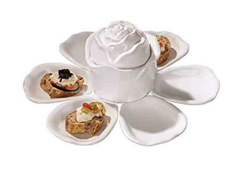 (Ceramic Flower-Shaped 8-Piece Serving Dish Set)