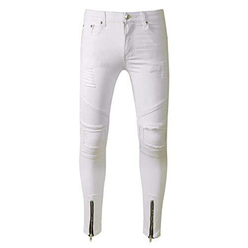Slim Bianca Da color Blu Especial Vintage Casual 38 Estilo Moda 30 Fit Jeans Uomo Strappati Elasticizzati Eleganti Size Pantaloni Pqgax5pwq