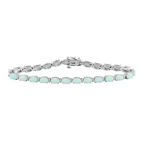 (Jewelili Sterling Silver 7x5mm Oval Created Opal and Round Diamond Accent Bracelet, 7.25 Inch)