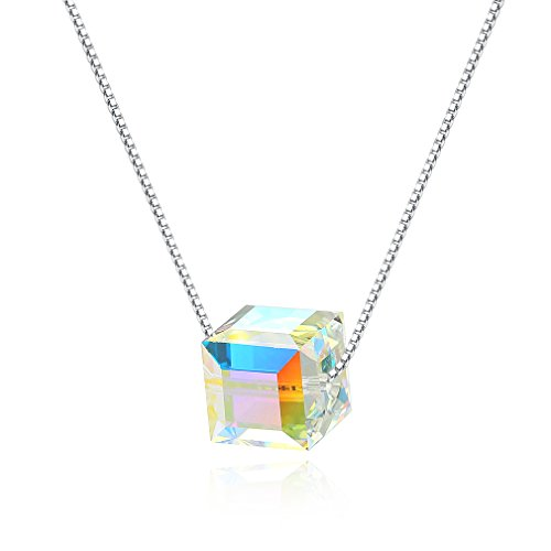 ELBLUVF 925 Sterling Silver Cube Cubic Candy Square Aurora Borealis Necklace (Cube ()