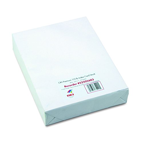 Oki 52205603 Premium Card Stock, 110 lbs., Letter, White (Box of 250 Sheets)