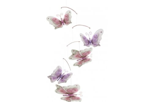 The Butterfly Grove Sash Butterfly Mobile Decoration- 3D Hanging Mesh Nylon Decor, Multicolored