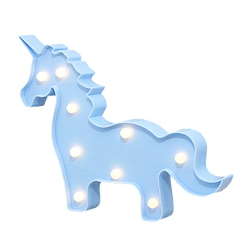LED Unicorn Light,Animal Shaped Light for Chistmas,Birthday Party,Kids Room, Living Room, Wedding Party Decor,Romantic Deco Lamp Blue by LEDIARY