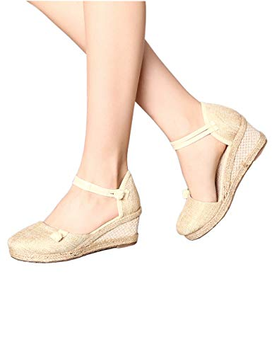 Mary Jane Canvas Solid Color Women Chinese Simple Casual Sandals Wedges Platform Party Shoes Beige 7.5 B(M) US