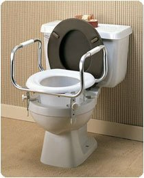 Raised Toilet Seat with Safety/Hand Rails - Model 6473