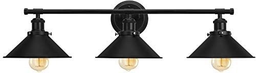 Bathroom Vanity Light Fixtures,Farmhouse Wall Sconce Industrial Kitchen Wall Lighting with Matte Black Cone Metal Shade…