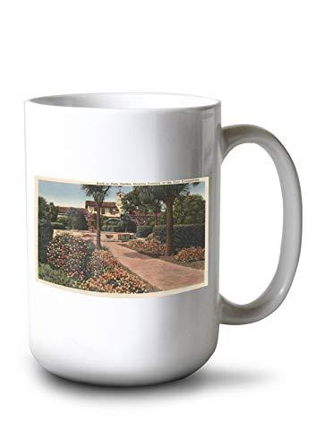 Lantern Press View of The Mission, Patio Gardens (15oz White Ceramic Mug)