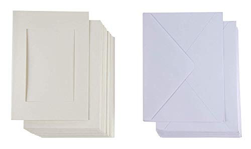 - 36-Pack Ivory Photo Insert Note Cards - Includes Paper Picture Frames and Envelopes - Ivory Embossed Paper Photo Mats, Photo Insert Greeting Cards, Holds 5 x 7 Inches Inserts