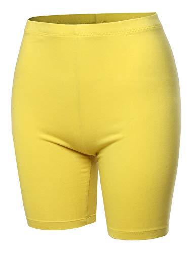 A2Y Basic Solid Cotton Mid Thigh High Rise Biker Bermuda Shorts Yellow 3XL ()
