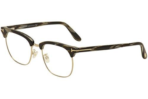 Tom+Ford+TFT5342+Oval+Clubmaster+Eyeglasses%2C+51%2C+Black+Horn