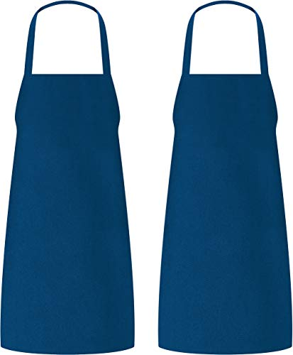 Utopia Kitchen Bib Aprons Bulk, 2 Pack Aprons, Blue