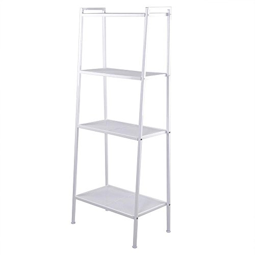 Multi Purpose Display - Azadx Bookcase, 4-Tier Multipurpose Iron Widen Ladder Bookshelf Shelves Storage Organizer Rack, Shelf Display Rack for Home or Office Use (Ivory White)