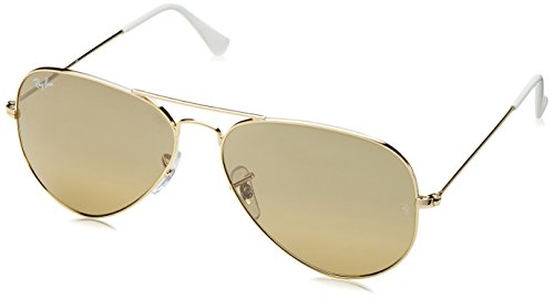 Ray-Ban 3025 Aviator Large Metal Mirrored Non-Polarized Sunglasses, Gold/Brown/Silver Mirror (001/3K), 62mm Brown Polarized Silver Mirror