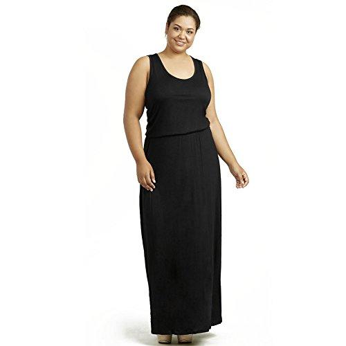 Sofra Women's Plus Size Long Maxi Dress-XL-Black