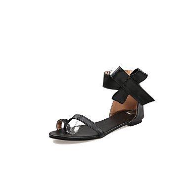 LvYuan Mujer-Tacón Plano-Confort Suelas con luz-Sandalias-Oficina y Trabajo Deporte Informal-PU-Negro Blanco Black