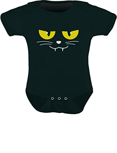 TeeStars - Halloween Cat Face Easy Costume for Baby Boy / Girl Cute Baby Bodysuit 6M Black (Easy Black Cat Halloween Costume)