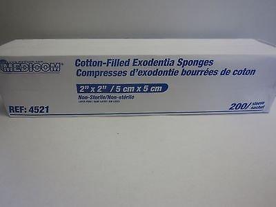 Medicom 4521 Exodontia Cotton-Filled Gauze Sponge, Non-Sterile, 8-Ply, 2'' Width, 2'' Length (Pack of 5000)