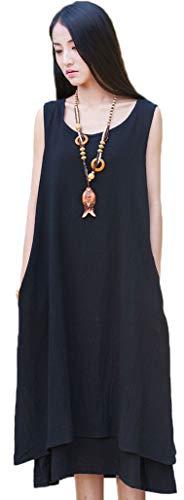 Soojun Women's Essential Double-Layer Sleeveless Linen A-Line Dresses 2 Black Medium ()