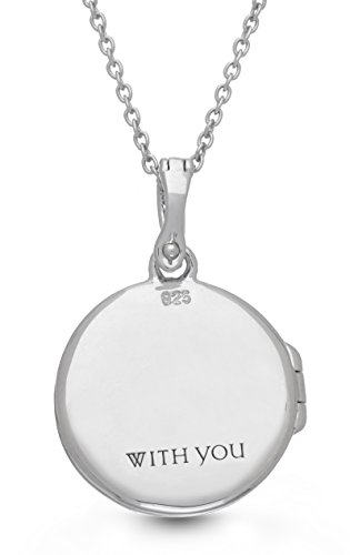 Oxidized-Sterling Silver-White Topaz-Custom Photo Locket Necklace-18inch chain-The Roxy by With You Lockets by With You Lockets (Image #2)