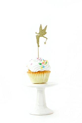 Tinkerbell Gold Glitter Cupcake Toothpick Toppers (Gold Glitter Bell)