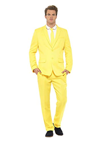 Smiffys Men's Yellow Suit, Jacket, pants and Tie, Stand out Suits, Serious Fun, Size XL, 23525
