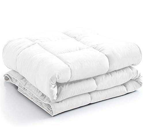 New York Mercado 100% Organic Cotton Comforter Luxury and Premium Quality Quilted with Corner Tabs 500 GSM GOTS Certified 800 TC All Season Warm Fluffy Ultra-Soft Comforter Full/Queen, White