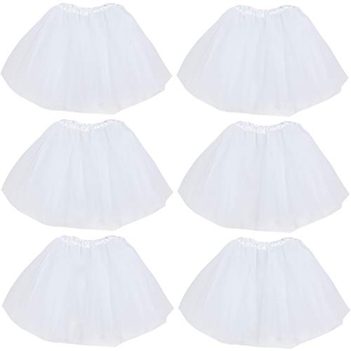 kilofly 6pc White Girls Ballet Tutu Kids Birthday Princess Party Favor Dress Skirt Set ()