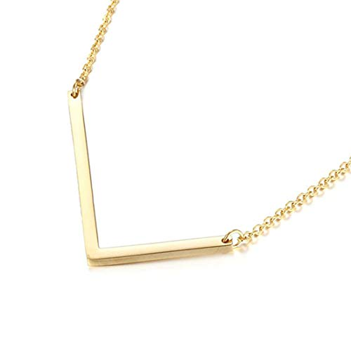 (Sideways Initial Necklace 18K Gold Plated Stainless Steel Large Letter L Necklace Big Initial Pendant Monogram Name Necklace for Women)
