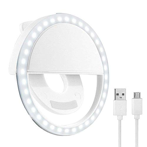 Rechargeable Selfie Ring Light 36 LEDs, 3 Level Brightness Light for iPhone X/8/8 Plus/7/7 Plus 6/6 Plus 6S/6S Plus Samsung Galaxy S9/S8 Plus S7 S6 Edge
