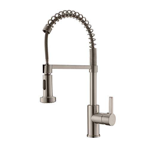 APPASO Commercial Kitchen Faucet with Pull Down Sprayer Stainless Steel Brushed Nickel - Spring High Arc Tall Modern Single Handle Kitchen Sink Faucet with Pull Out Spray Head (Modern Laundry Sink)