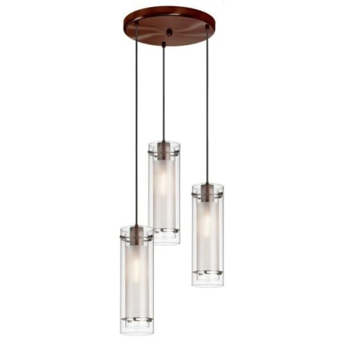 Dainolite 12153R-CF-OBB 3-Light Pendant-Round Canopy, Clear Glass/Frosted Insert, Oil Brushed Bronze (Round Bronze Three Light Pendant)