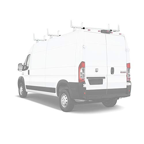 AA-Racks Model X202-PR RAM ProMaster 2013-On Heavy Guage Steel 3 Bar Van Roof Rack System w/Ladder Stopper White