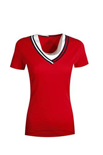 (Tommy Hilfiger Women Signature Short Sleeve V-Neck Logo Tee (XL, Red))