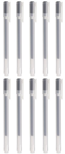 Muji Gel Ink Ball Point Pen, 0.38-mm, Black, 10 Pcs