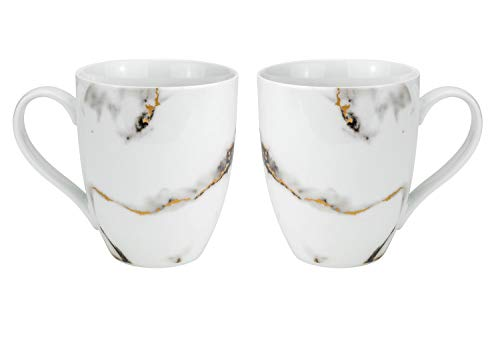 Euro Porcelain Marble Design Coffee Mug Tea Cup Set, Fine China Tableware with 24k Gold Plate Accent (Black w/gold, 2-pc…
