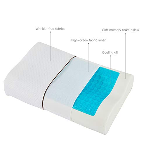 VODOF Cooling Bed Pillow, Gel Memory Foam Pillow, Soft and Comfortable Orthopedic Support, Standard Size, Wave Style