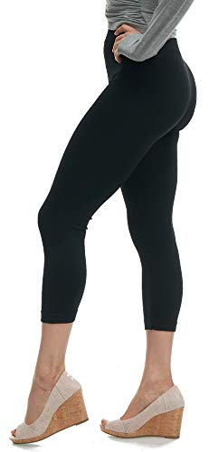 Lush Moda Seamless Capri Length Basic Cropped Leggings - Variety of Colors - Black OS ()