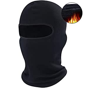 AXBXCX 1 Pack - Balaclava Windproof Ski Face Mask Winter Motorcycle Neck Warmer Tactical Balaclava Hood for Women Men Youth Snowboard Fishing Hat Helmet Liner Mask Black