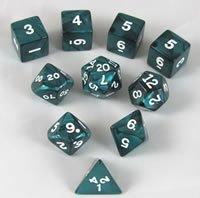 Koplow RPG Dice Sets: Emerald/White Pearlized Polyhedral 10-Die Set ()