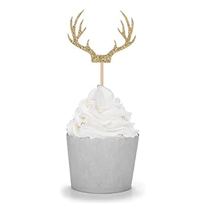 24 Counts Gold Deer Antler Cupcake Toppers Picks For Wedding Birthday Baby Shower Party Decorations Supplies