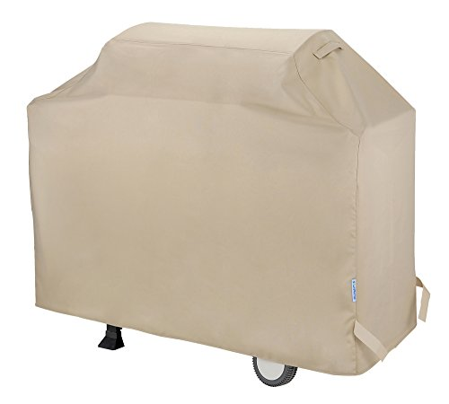 SunPatio Barbecue Grill Cover 60 Inch, Waterproof Heavy Duty BBQ Cover, Fits Grills of Weber Char-Broil Nexgrill Brinkmann and More, 60″ x 23″ x 42″, Beige