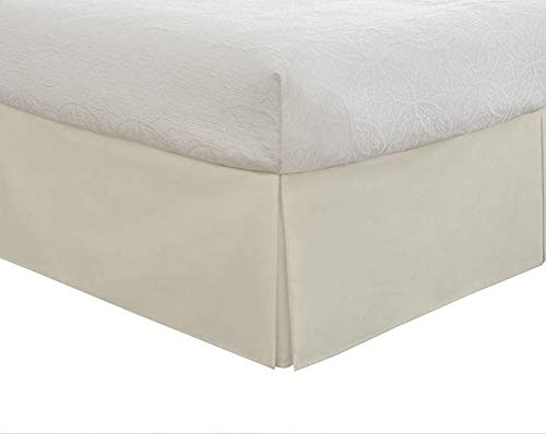 Valencia Beddings Split Corner Bed Skirt 16 Inch Drop Queen Size 100% Natural Cotton Wrinkle and Fade Resistant Queen Size, Ivory Solid (Queen Size Bed Skirts Ivory)