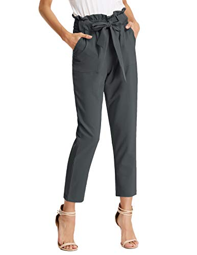 GRACE KARIN Women's Pants Trouser Casual Cropped Paper Bag Waist Pants XL Charcoal -