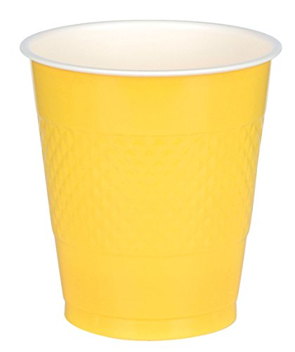 Sunshine Yellow Plastic Cups | 12 oz. | Pack of 20 | Party Supply