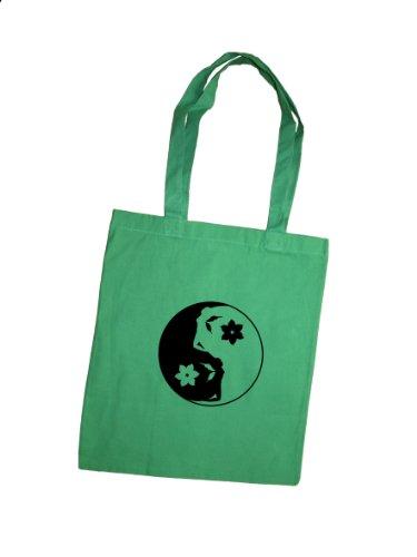 YinYang Elfe Jutebeutel hand bedruckt / Stoffbeutel / Baumwolltasche / Jute Beutel / Einkaufsbeutel aus Baumwolle von 3 Elfen - gelb grün