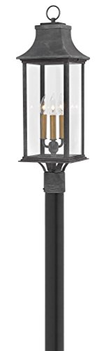 Hinkley 2931DZ Adair Outdoor Post, 3-Light 180 Total Watts, Aged Zinc